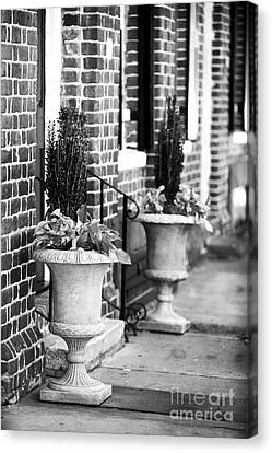 Two Planters By The Door Canvas Print by John Rizzuto