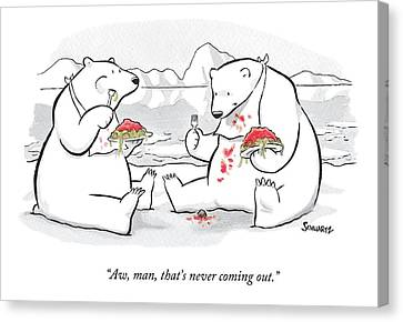 Two Polar Bears Eat Spaghetti And Meatballs.  One Canvas Print