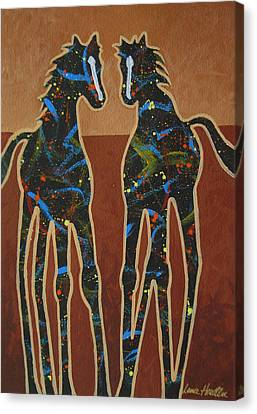 Contemporary Cowgirl Canvas Print - Two Ponies by Lance Headlee