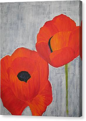 Two Poppies And Old Denim Canvas Print