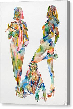Two Psychedelic Girls With Chimp And Banana Portrait Canvas Print by Fabrizio Cassetta