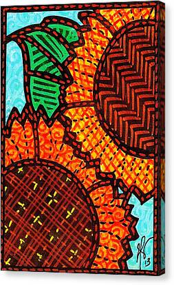 Two Quilted Sunflowers Canvas Print by Jim Harris
