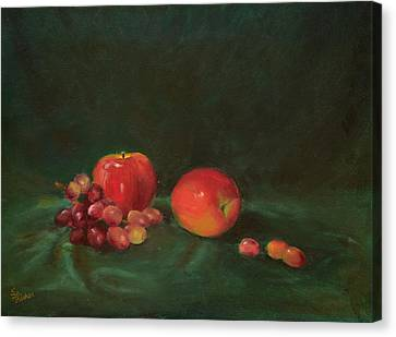 Two Red Apples And Grapes Canvas Print