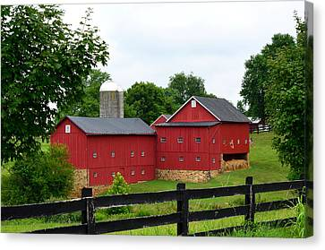 Canvas Print featuring the photograph Two Red Barns by Cathy Shiflett