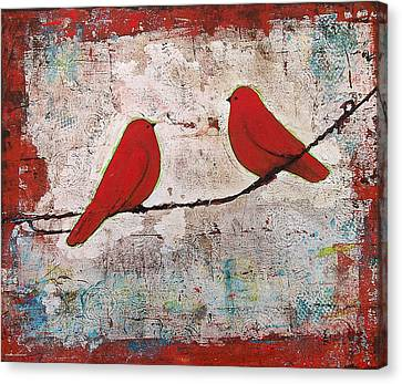 Wire Canvas Print - Two Red Birds On A Wire by Blenda Studio