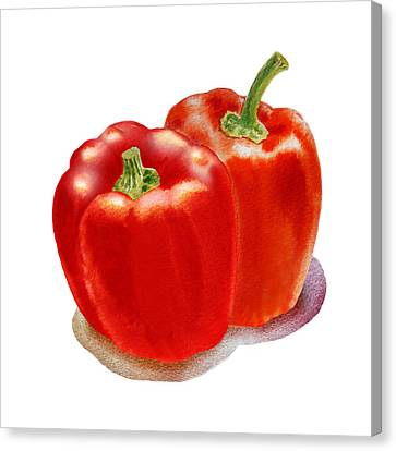 Two Red Peppers Canvas Print by Irina Sztukowski