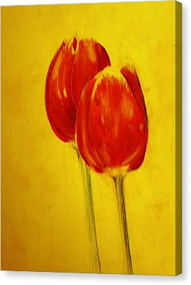 Two Red Tulips Canvas Print by Jean Cormier