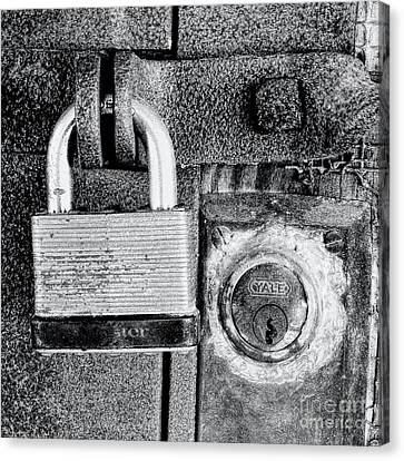 Two Rusty Old Locks - Bw Canvas Print