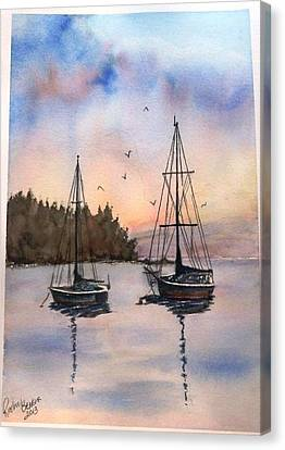Canvas Print featuring the painting Two Sail Boats At Anchor Sold by Richard Benson