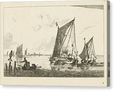 Rowboat Canvas Print - Two Sailboats And A Rowboat, Print Maker Anonymous by Anonymous And Reinier Nooms And Ch?reau