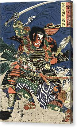 Two Samurai Fighting C. 1819 Canvas Print by Daniel Hagerman