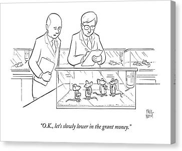 Clothing Canvas Print - Two Scientists In Lab Coats Observe A Group by Paul Noth