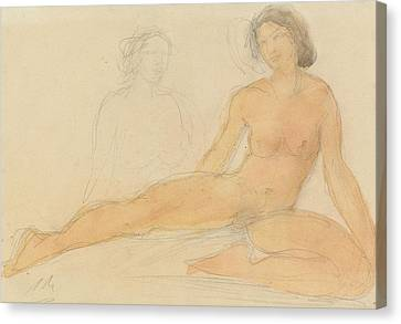 Two Seated Nudes Canvas Print by Auguste Rodin