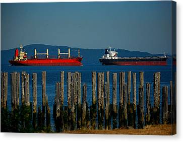 Two Ships Passing In The Canvas Print by Mamie Gunning