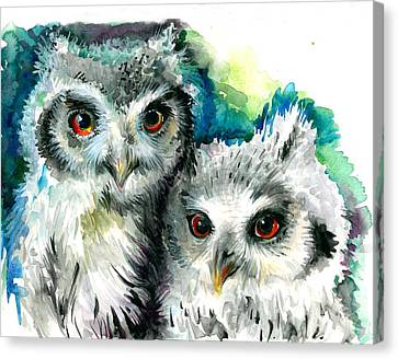 Two Sisters - Polar Owl Offsprings Canvas Print by Tiberiu Soos