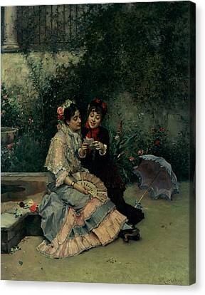 Announcement Canvas Print - Two Spanish Women by Ricardo de Madrazo y Garreta