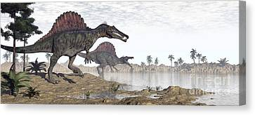 Two Spinosaurus Dinosaurs Walking Canvas Print by Elena Duvernay