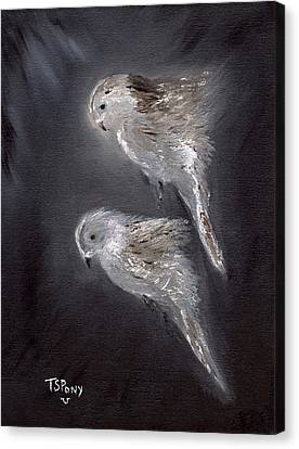 Canvas Print featuring the painting Two Spirits In The Night by Barbie Batson