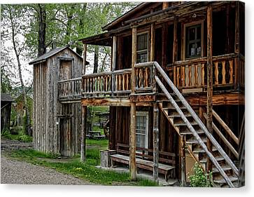 Two Story Outhouse - Nevada City Montana Canvas Print by Daniel Hagerman