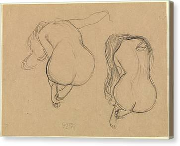 Two Studies Of A Seated Nude With Long Hair Gustav Klimt Canvas Print by Litz Collection