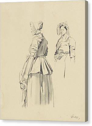 Loon Canvas Print - Two Studies Of A Standing Woman With Jug by Quint Lox