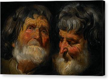 Two Studies Of The Head Of An Old Man Canvas Print by Jacob Jordaens