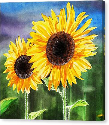 Canvas Print featuring the painting Two Sunflowers by Irina Sztukowski