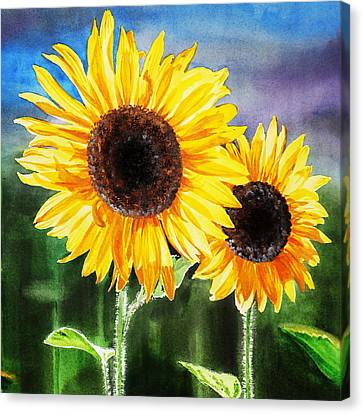 Two Suns Sunflowers Canvas Print