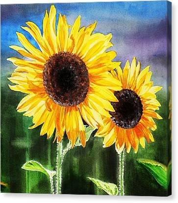 Two Suns Sunflowers Canvas Print by Irina Sztukowski