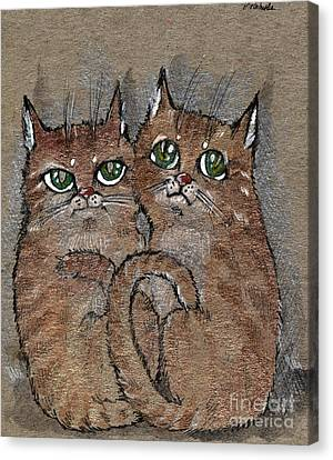Two Tabby Cats Canvas Print by Angel  Tarantella