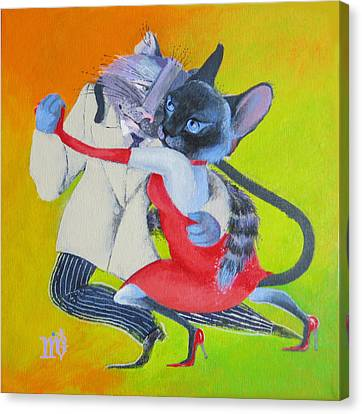 Canvas Print featuring the painting Two To Cats' Tango by Marina Gnetetsky