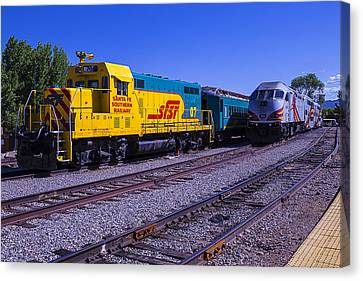 Santa Fe Canvas Print - Two Trains by Garry Gay