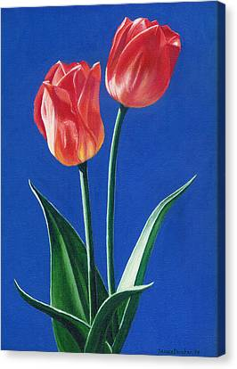 Canvas Print featuring the painting Two Tulips by Janice Dunbar