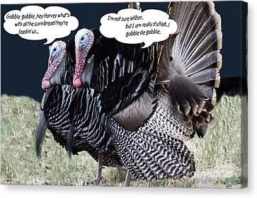 Two Turkeys Talking Canvas Print by Gary Brandes