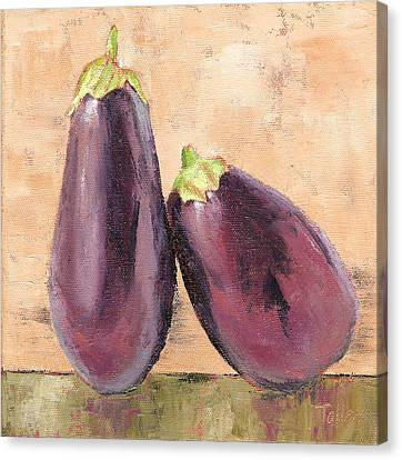 Canvas Print featuring the painting Two Tuscan Eggplants by Pam Talley