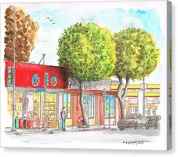 Two Tween Trees In Santa Monica Blvd - Santa Monica - Ca Canvas Print by Carlos G Groppa