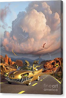 Horror Car Canvas Print - Two Velociraptors In Their Scary Car by Jerry LoFaro
