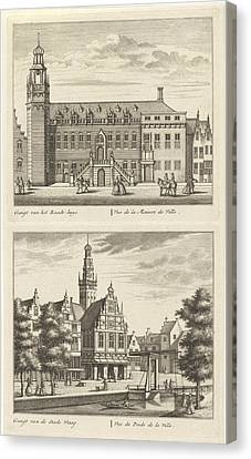 Two Views In Alkmaar With The City Hall And De Waag Canvas Print by Leonard Schenk And Abraham Rademaker