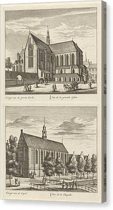Two Views In Alkmaar With The Great Church And The Chapel Canvas Print by Leonard Schenk And Abraham Rademaker