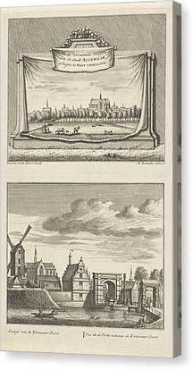 Two Views In Alkmaar With The Great Church Canvas Print by Leonard Schenk