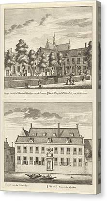 Two Views In Alkmaar With The Orphanage And The St Canvas Print by Leonard Schenk And Abraham Rademaker