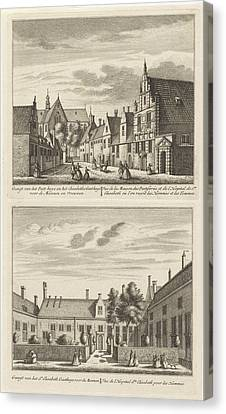Two Views In Alkmaar With The Plague House And St Elisabeth Canvas Print by Leonard Schenk And Abraham Rademaker