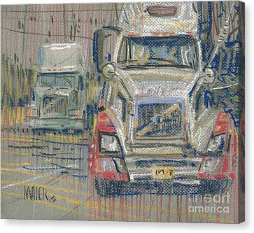 Canvas Print featuring the painting Two Volvos by Donald Maier