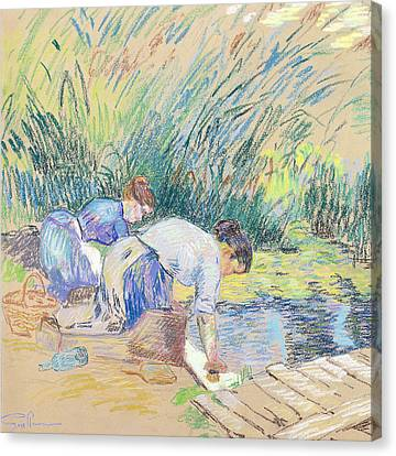 Two Washerwomen Canvas Print by Jean Baptiste Armand Guillaumin