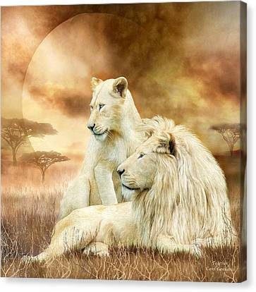 Two White Lions - Together Canvas Print by Carol Cavalaris
