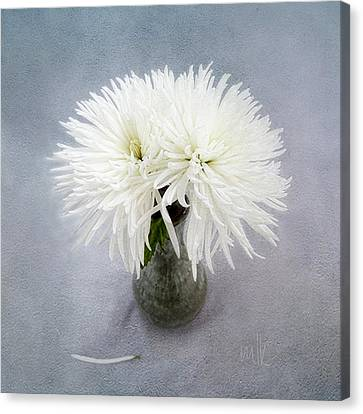 Two White Mums In Green Vase Still Life Canvas Print