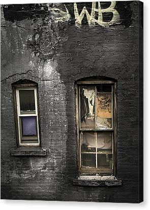Two Windows Old And New - Old Building In New York Chinatown Canvas Print by Gary Heller