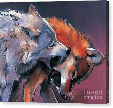 Biting Canvas Print - Two Wolves by Mark Adlington