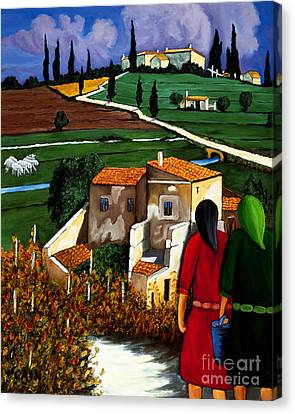 Two Women And Village Sheep Canvas Print