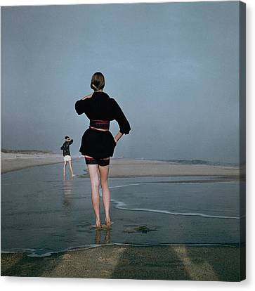 Two Women At A Beach Canvas Print by Serge Balkin